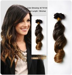 18 inches Wavy Two Tone Ombre Human Hair Extension Clip On usw156