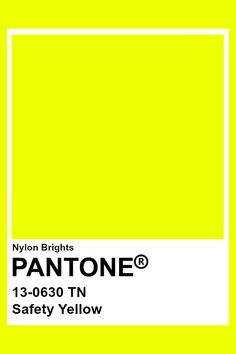 This yellow is sunshine yellow. You can tell because of its bright chroma and value. This color's hue sits right on yellow, maybe slightly leaning towards green. Making a cool-yellow. Neon Colour Palette, Pantone Colour Palettes, Neon Colors, Pantone Color, Colour Schemes, Color Patterns, Solid Colors, Pantone Swatches, Color Swatches
