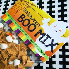 Halloween Boo Mix-- skeleton teeth (marshmallows), witch warts (chocolate chips), pumpkin poop (Cheetos balls), monster scabs (cinnamon toasters)
