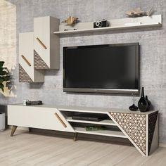 Tv Cabinet Design, Living Room Tv Unit Designs, Tv Decor, Lcd Panel Design, White Tv Unit, Tv Wall Design, Tv Room Design, Wall Unit, Wall Tv Unit Design
