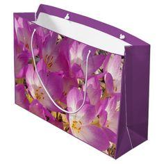 Purple Crocuses Floral Large Gift Bag #flowers #giftbags #giftpresentation