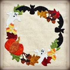 Ghost and Bat Wreath - Baltimore Style Halloween Quilt