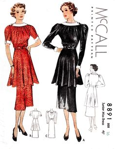McCall 8891 1930s 1936 tunic dress shirring detail vintage sewing pattern repro