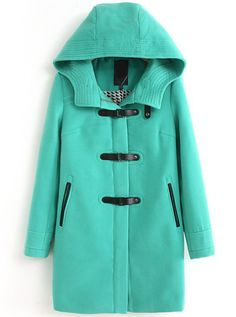 Green Hooded Long Sleeve Woolen Trench Coat. great site for inexpensive coats.