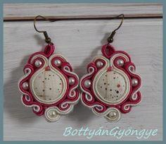 Raspberry asymmetric soutache earrings  simple by BottyanGyongye