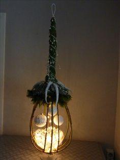 Takkenvorm met dennenhoed en kerstmateriaal - sfeerlicht hanger of staander 2016
