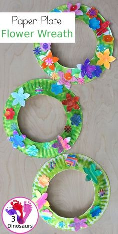 Flower Themed Paper Plate Wreath: Oil Pastels - fun and easy wreaths to make at any time using flower punches and paper plates - 3Dinosaurs.com #wreathsforkids #flowers #3dinosaurs #springcraft #easytomake Paper Plate Crafts For Kids, Spring Crafts For Kids, Summer Crafts, Easter Crafts, Holiday Crafts, Art For Kids, Summer Art, Paper Plate Art, Paper Plate Masks