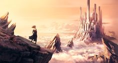 The stunning fantasy themed illustrations and paintings of freelance digital artist Hugh Pindur. Fantasy Castle, Medieval Fantasy, Sci Fi Fantasy, Fantasy World, Fantasy Setting, Above The Clouds, Fantasy Illustration, Environmental Art, Fantasy Landscape