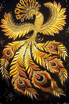 this firebird embroidery! According to ancient Egyptian mythology the phoenix is seen as a symbol of rebirth, immortality and transformation. Russian Folk, Russian Art, Machine Embroidery Designs, Embroidery Patterns, Phoenix Bird, Golden Phoenix, Phoenix Dragon, Gold Embroidery, Russian Embroidery