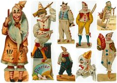 Vintage circus clowns graphics