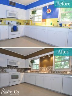 """""""Before"""" the dated yellow formica and bright blue paint may have discouraged buyers from seeing all the great features of this home. Then check out the """"After"""": New backsplash, countertops and fresh paint color. This kitchen is filled with Savvy Style. Now it is ready for a new owner who loves to cook!"""