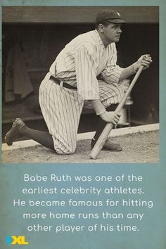 Babe Ruth became the first baseball player to hit 60 home runs in a single season #OnThisDay in 1927! His record wasn't broken until 1961. #TBT Baseball Players, Baseball Cards, Babe Ruth, Throwback Thursday, Change The World, Social Studies, Fun Facts, Athlete, Running