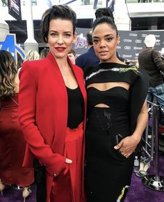 Evangeline Lily and Tessa Thompson at the Avengers Endgame World Premiere April 2019 in California Tessa Thompson, Evangeline Lilly, Red Carpet, Avengers, Leather Jacket, Zip, Jackets, April 22, Marvel