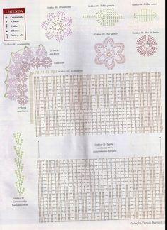 Gráficos Aqui - Artesanato: Gráfico toalhinha quadrada em crochê, aplicação flores