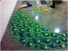 Peacock Rangoli Designs - diwali rangoli
