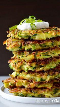 5-Ingredient Zucchini Fritters #recipe via http://justataste.com