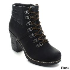 Nature Breeze Forest-02 Women's Quilt Up Rubber Chunky Combat Ankle Booties