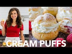 Cream Puffs are a classic French dessert filled with sweet cream and dusted with powdered sugar. Learn how to make easy bakery quality cream puffs. Puff Pastry Recipes, Tart Recipes, Donut Recipes, Köstliche Desserts, Delicious Desserts, Dessert Recipes, Cream Puff Recipe Video, Classic Eclair Recipe, Apple Tart Recipe