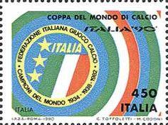 """1990 - Coppa del Mondo di Calcio """"ITALIA '90"""" - Colori dell'Italia e stemma della Federazione italiana gioco di calcio"""