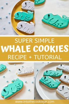 There's nothing cuter than these whale cookies to bring to an underwater themed birthday party. Check out this whale cookie tutorial to learn more about how to make these sea creature cookies, including the sugar cookie cut-out base and the royal icing recipe to decorate them on top. Animal Cookies Recipe, Royal Icing Cookies Recipe, Icing Recipe, Cookie Recipes For Kids, Best Cookie Recipes, Dessert Recipes, Whale Cookies, Icing Tips, Cookie Tutorials