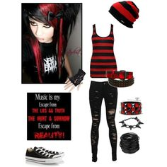"""Red and black"" by alone-by-fate on Polyvore"