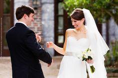 Bride and Groom's first glance. Wedding at Wesley United Methodist Church, St. Simons Island, GA