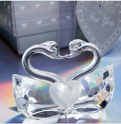 80pcs Lot Romantic Wedding Favors And Gift K9 Crystal Kissing Swans Figurines Bridal Shower