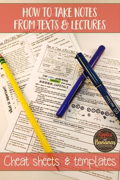 Teach middle and high school students how to take quality notes.  Cheat sheets for how to take notes from a text and how to take notes from a lecture, plus 4 templates to use with any type of informational text.