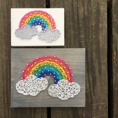 If youve been following me on social media for any length of time, you know I LOVE rainbows so I couldnt be more excited for how this adorable board turned out! All the heart eyes!! This listing is for a made to order string art mid size rainbow sign measuring approximately 7 x 5.25. Boards will be stained with our gray stain, as pictured above, unless otherwise requested. Please list your color choice in the note to seller if youd like something different than pictured. By default, boards…