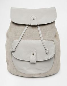 ASOS Leather and Suede Embossed Croc Backpack