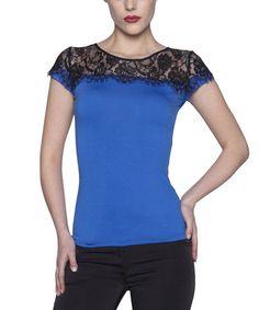 Love this Dark Blue & Black Lace Cap-Sleeve Top on #zulily! #zulilyfinds