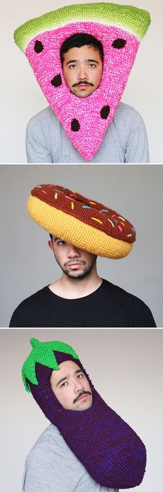 DIY Inspiration - Artist Phil Ferguson will delight you (and maybe even make you a little hungry) with his ongoing series of crocheted headwear. #crochet