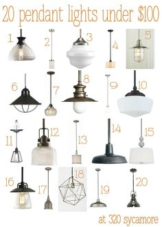 20 great pendant lights under $100 --- kitchen lighting - 320 * Sycamore @Amanda Snelson Shiv