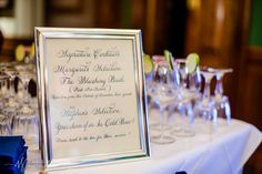 Savannah wedding reception at The Chatham Club. Signature cocktails table! Calligraphy courtesy of Renee' Polcher.  Our reception :)