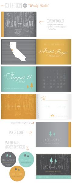 """Love the fonts used in this """"Save the date booklet""""...."""