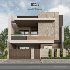 36ft Elevation on Behance House Fence Design, 3 Storey House Design, Bungalow House Design, Facade Design, Modern Villa Design, Modern Exterior House Designs, Modern Small House Design, Modern House Facades, Modern Architecture House