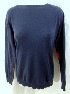 Market & Spruce Fierro Sweater Medium M Navy Blue Pink Elbow Patch Stitch Fix #MarketSpruce #Crewneck #stitchfix