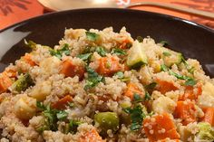Warm Quinoa Salad with Roasted Autumn Vegetables and Ginger-Scallion Dressing
