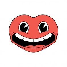 Coeur joyeux dessin animé riant sur fond blanc. Sticker design, icône pour la Saint Valentin . — Illustration Smileys, Bisous Gif, Cartoon Heart, Disney Characters, Fictional Characters, Anime, Sticker Design, Cute, Vector Art