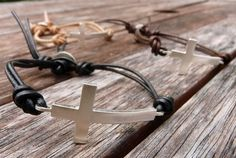Sterling Silver Cross Leather Bracelet by mariaburgos on Etsy