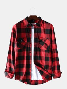 Mens Hit Color Plaid Chest Pockets Turn Down Collar Long Sleeve Casual Shirts is designer and cheap on Newchic. Tomboy Fashion, Fashion Outfits, Camisa Floral, Cool Outfits, Casual Outfits, Future Clothes, Long Sleeve Shirts, Long Shirts, Street Outfit