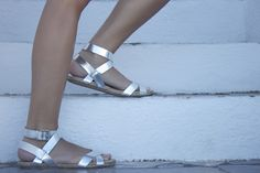 BORN AND BREAD: Polka Dot Pop {Outfit Post} gladiator sandals metallic
