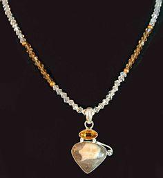 """Jasper & Citrine necklace, Swarovski crystals, Stylish necklace, Statement necklace, hung on a 20"""" crystal chain. by LizHivelyJewelry on Etsy"""
