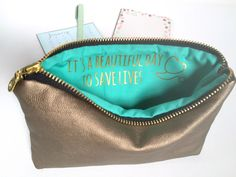 Gift For Nurse or Doctor // Gold Leather Zip Bag // It's a Beautiful Day to Save Lives: Greys Anatomy by ShopSandraSmith on Etsy https://www.etsy.com/listing/264738200/gift-for-nurse-or-doctor-gold-leather