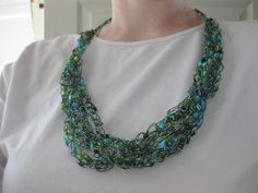 Crochet Necklace Ladder Yarn/Ribbom by ThatsSewJulieS on Etsy