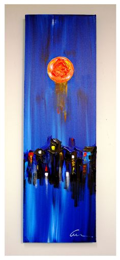 """""""When The Lights Go Down""""...acrylic on stretched canvas...51"""" x 16"""" x 3""""...©Mac Worthington, artist, 2014 For further information on this piece or to discuss a custom design please call 614 