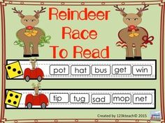 Reindeer Race to Read: Students will have fun building fluency as they learn to read short vowel words quickly. Students will take turns rolling the dice and reading words in that row. There are practice sheets for each vowel sound and a mixed practice sheet.