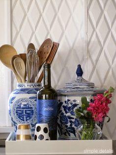 oriental blue + white jars as utensil holders