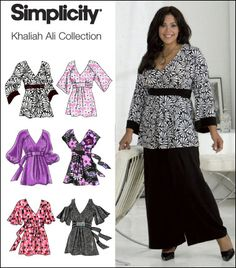Simplicity 2634 from Simplicity patterns is a Plus Size Pullover Tunic / Tops Khaliah Ali Collection sewing pattern. I love this range to tops, all of which would be suitable for wheelchair wear with just a couple of inches taken off the hemline to allow them to drape just a little.