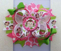 Mod Monkey Hair Bow / Mod Monkey Birthday Hair by DLovelyBOWtique, $9.99